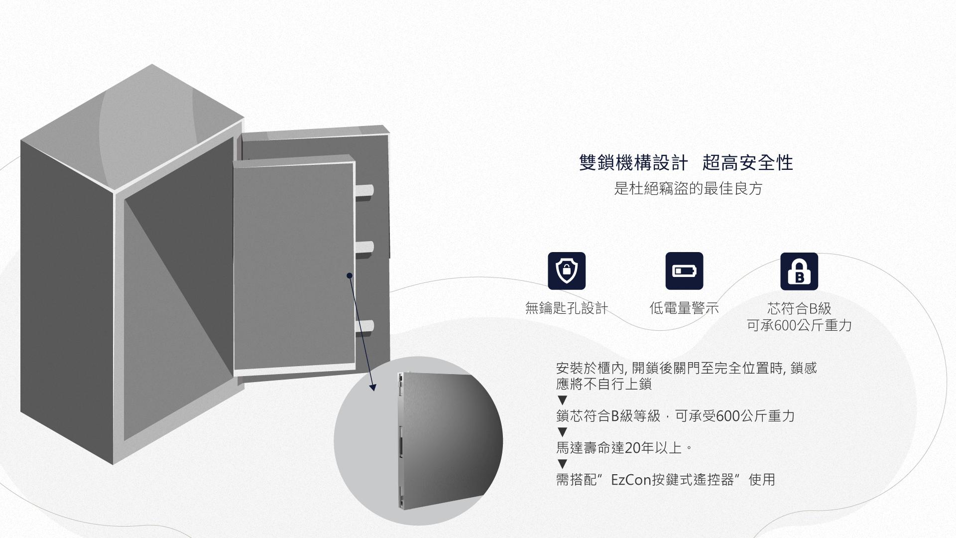 安装于柜内, 开锁后关门至完全位置时, 锁感应将不自行上锁